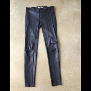 Alice + Olivia Front Zip Leather Legging Black 2